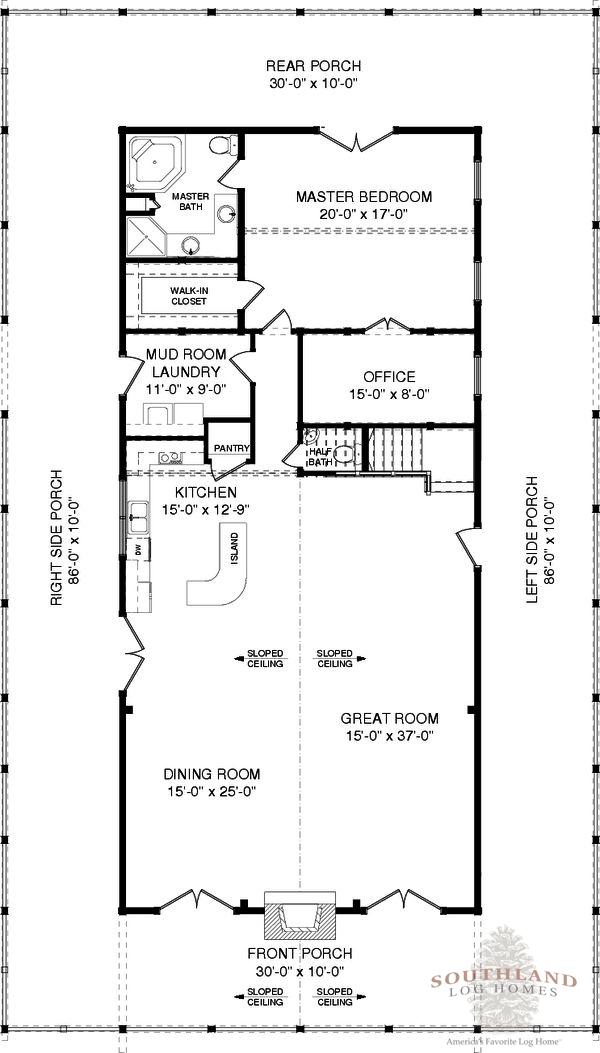 Floor Front Elevation Zip : Sullivan plans information log cabin kits